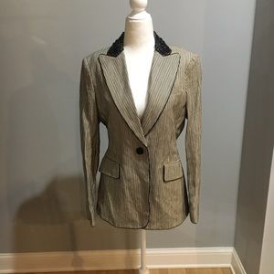 BCBG striped with jeweled collar blazer